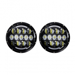 LED Headlights - 7 Inch Black with Partial Halo JP-704B