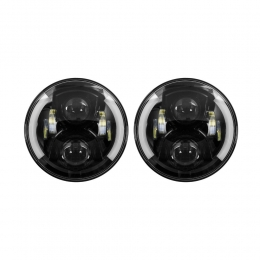 LED Headlights - 7 Inch Black with Partial Halo JP-703B