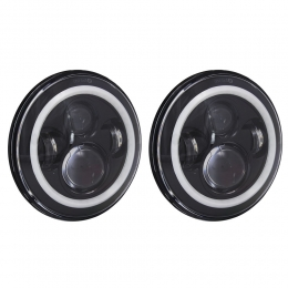 Jeep 7 Inch Round 6 LED With RGB Halo - Black Front Face HE-PBHL702RGB