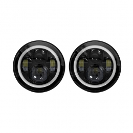 LED Headlights - 7 Inch Black with Full Halo JP-702B