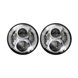 LED Headlights - 7 Inch Silver with Partial Halo JP-703S